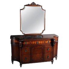 Neoclassical Kittinger School Inlaid Flame Mahogany Dresser and Mirror Set