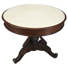 Antique Carved and Ebonized Rosewood Marble-Top Centre Table, circa 1880