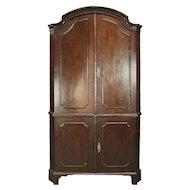 Early 19th Century Two-Piece Renaissance Revival Walnut Blind Corner Cupboard