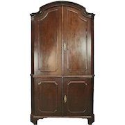 Early 19th Century Two-Piece Renaissance Revival Walnut Blind Corner Cupboard