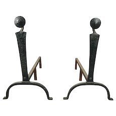 Antique Arts & Crafts Yellin School Hammered Hand-Wrought Iron Andirons