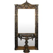 Oversized French Baroque Style Giltwood Hall Mirror with Pedestal, Contemporary