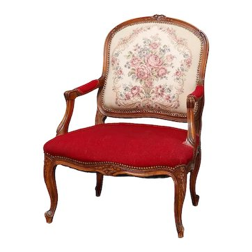 Antique French Louis XVI Style Carved Fruitwood & Tapestry Armchair 20th Century
