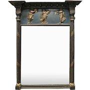 French Empire Ebonized and Gilt Figural Wall Mirror, circa 1810