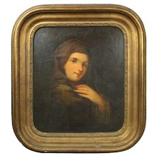 Antique Oil on Canvas Painting of Russian Maiden, 19th Century