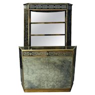 Two-Piece Mid-Century Modern Fully Mirrored Bar and Cabinet, circa 1950