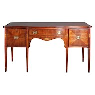 Federal Style Flame Mahogany Inlaid Three-Drawer Sideboard, Statton Furniture Co