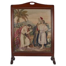 Mahogany Pictorial Needlepoint Fire Screen, Biblical Jacob & Leah, circa 1890
