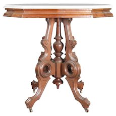 Victorian Eastlake Carved Walnut and Marble Parlor Table, 19th Century