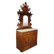 Antique Heavily Carved Oak Mirrored Marble-Top Sideboard with Candle Stands