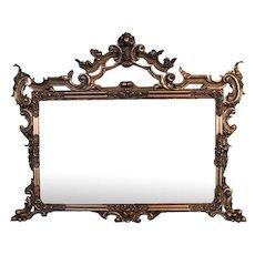 Oversized Antique French Gilt Overmantel Pediment Mirror, circa 1890