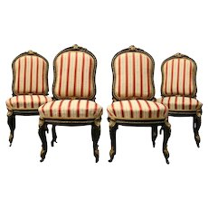 Four Antique French Louis XIV Style Ebonized and Ormolu Side Chairs, circa 1880