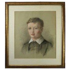 Antique English Pastel Portrait of Boy Attributed George Richmond
