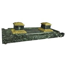 Oversized Antique Continental Style Gilt Bronze and Marble Inkwell, circa 1890