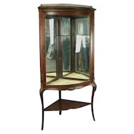 Antique French Style Horner Bros. Mahogany and Bronze Bowed Corner Cabinet