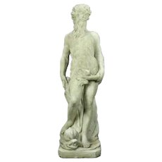20th Century Vintage Classical Greek Figural Garden Sculpture of Poseidon