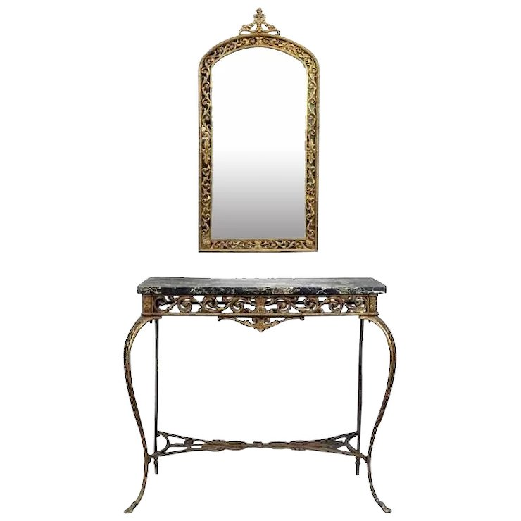 Antique Cast Bronze And Marble Oscar Bach Console Table And Mirror, Circa  1930