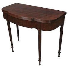Antique Sheraton Carved Mahogany Game Table, Acanthus Decorated, circa 1830