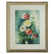 Oversized Vintage Floral Still Life Watercolor Painting, Peonies, Signed