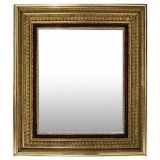 Antique 1st Finish Gold Gilt and Velvet Deep Frame Wall Mirror, 1890
