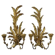 Vintage Pair of Italian Rococo Foliate Giltwood Dual Light Wall Sconces, 1950
