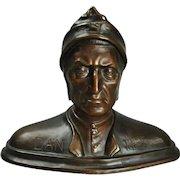"""Antique Italian Bronzed Terracotta Sculpture of Bust """"Dantes"""", circa 1890"""