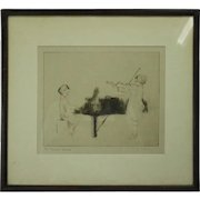 "Antique Dry Point Etching Artist's Proof by M. Ryerson ""The Hayden Sonata"""