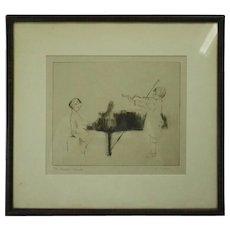 "Antique Dry Point Etching Artist's Proof by M. Ryerson ""The Hayden Sonata"""