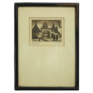Antique Miniature Sepia Etching Rothenburg, Germany, Artist Signed, circa 1860