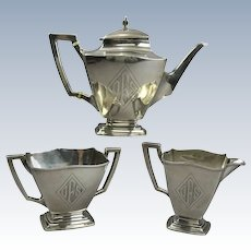 Antique Sterling Silver Empire Style Three-Piece Tea Set, circa 1920