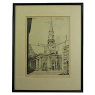 Antique Etching of New York Presbyterian Church by Pierson Underwood, 1938
