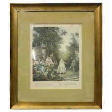 """French Hand Tinted Print """"L'autonne"""" by N. Tardieu After Lancret, circa 1870"""