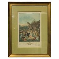 "Antique French Hand Tinted Print ""Le Menuet de La Mariee"" by P L Debucourt"