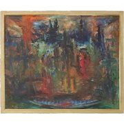 Mid-Century Modern Abstract Expressionism Skyline Scene O/C Painting, circa 1960