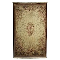 Vintage French Aubusson Style Hand-Knotted Oriental Rug, approx 5'x9', circa 1950
