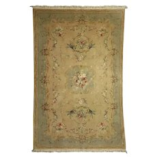 Vintage French Aubusson Style Hand Knotted Floral Rug, approx 5'x9', circa 1950