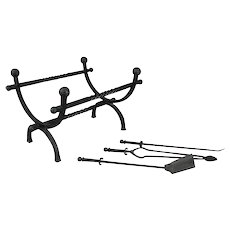 Monumental Antique Yellin School Wrought Iron Log Cradle and Tools, circa 1920