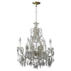 Antique French Style Cut Glass and Bronze Six-Light Chandelier, circa 1930