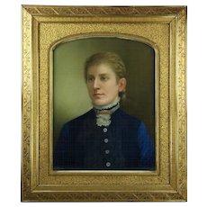 Antique Pastel Portrait of Nobleman Signed T. Gegoux 1881, Gilt Gesso Frame