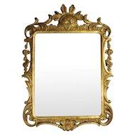 Antique French Pierced Gold Giltwood Wall Mirror, Scroll & Foliate Design