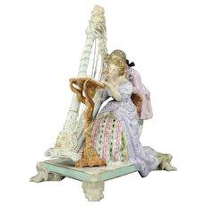 Antique German Ludwigsburg Porcelain Figural Group, Harpist Couple, circa 1820