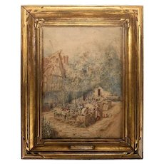 "Antique Watercolor Painting ""the Village Store"" by Maud Hollyer, UK, 1867-1910"
