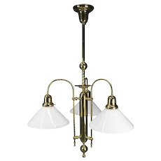 Vintage French Brass Three-Light Twisted Rope Hanging Fixture, 20th Century