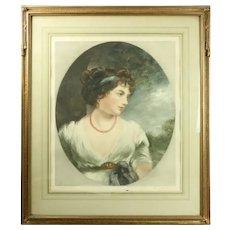 British John Cother Webb Mezzotint, Moonlit Young Woman, Signed, circa 1916