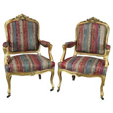 Pair of Antique French Louis XIV Style Carved Giltwood Upholstered Armchairs, c1870