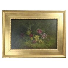 Antique Oil on Board Painting of Wild Roses on Forrest Floor, Gilt Frame