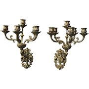 Pair of Antique French Cast Bronze Six-Light Wall Sconce Candelabra, circa 1870