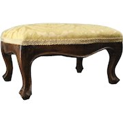 Antique French Louis XV Style Carved Walnut Upholstered Footstool, circa 1880