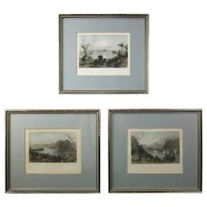 Three Antique Hudson River Valley Style Colored Etchings by W.H Bartlett
