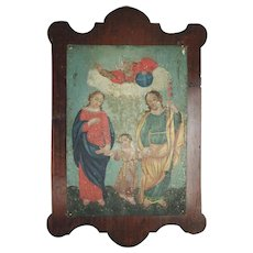 Antique 18th Century Eastern Orthodox Oil on Tin Icon Painting, The Holy Family